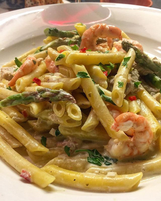 Shrimp Penne in a Garlic Lemon Mascarpone Sauce