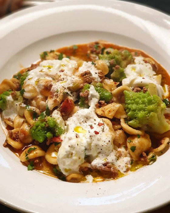 Orecchiette with Sausage Romanesco Cauliflower and Burrata