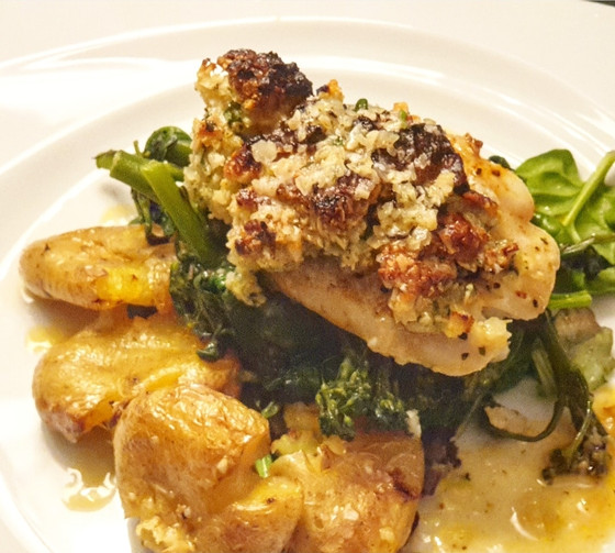 Flash Roasted Cod with Almond & Parmesan Crust with Wilted Greens
