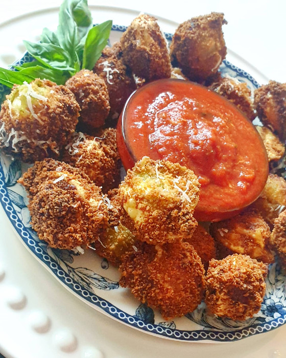 Deep Fried Tortelli with Basil Pesto and Pecorino Crust