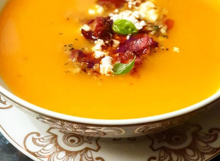 Cream of Pumpkin and Carrot Soup with Chouriço & Crumbled Feta Cheese