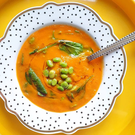 Creamy Carrot Tomato and Fava Bean Soup