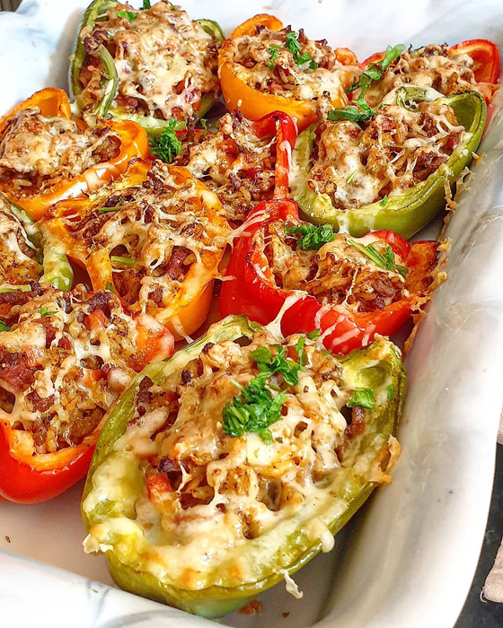 Stuffed Roasted Peppers with Beef, Rice & Beer