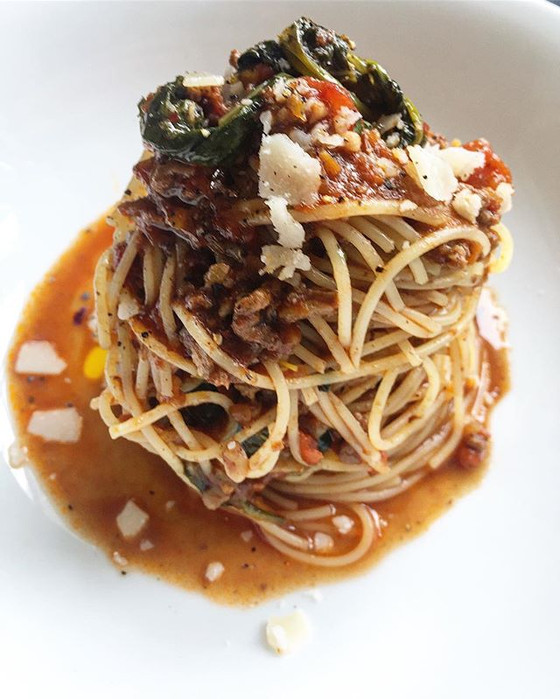 Sundried Tomato Beer Spinach and Beef Ragù