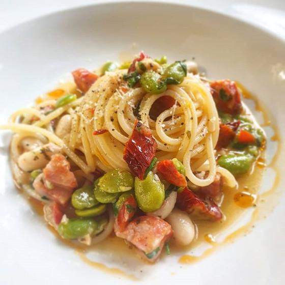 Spaghetti Primavera with Fava and Cannellini Beans Sun Dried Tomatoes Chorizo and Chilli