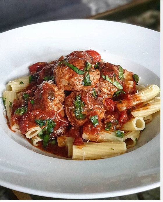 Pork Lemon and Fennel Meatballs in a Red Wine Tomato Sauce