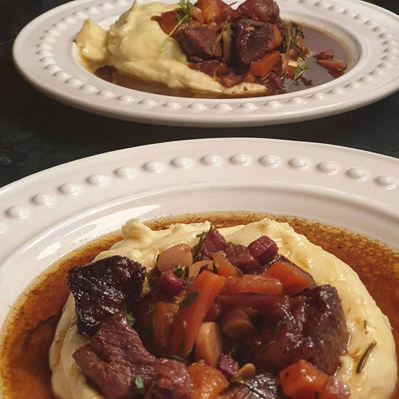 Balsamic Beef Shin Tagine with Rosemary and Apricots