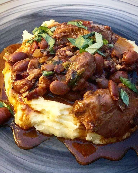 Chicken Braised in Red Wine with Balsamic Vinegar    Basil & Borlotti Beans