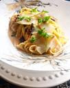 Creamy Truffled Linguine with Salt Cod & Black Olive Crumbs