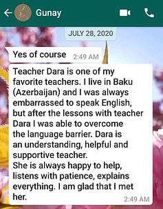 Gunay student feedback about AESL JULY 2