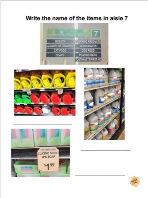 Supermarket-Outdoor Market Worksheets