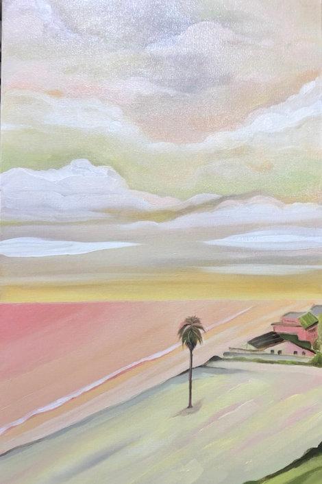 A Pink Moonlight Beach