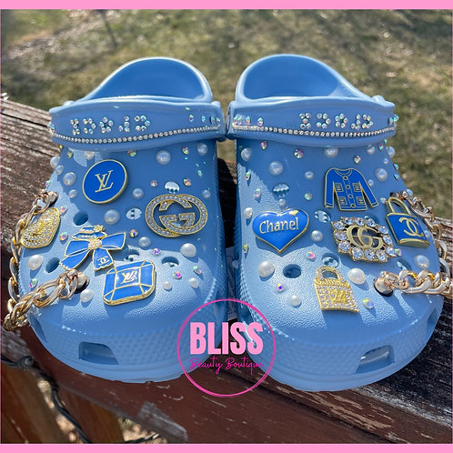 Custom Blue Chambray Crocs