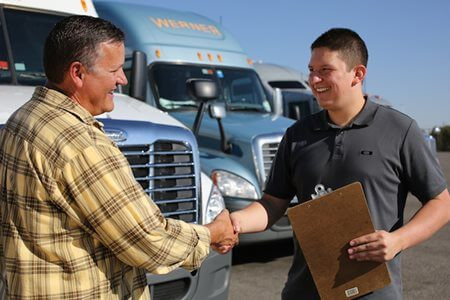 Driver Going Through a DOT Truck Inspection