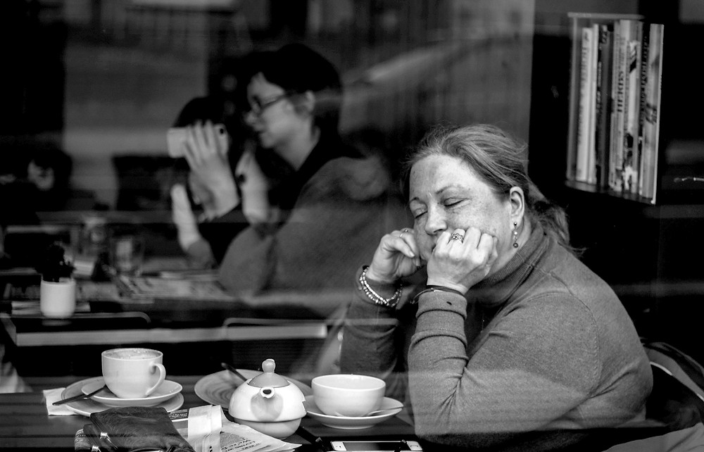 slip away david bowie, woman daydreaming, street photography