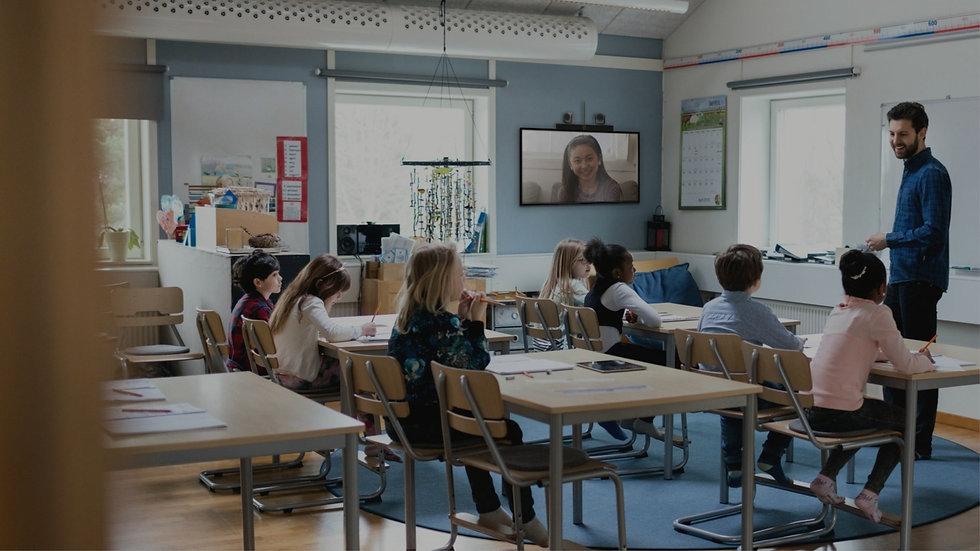 Hybrid classroom, virtual classroom, online learning, e-learning, hybrid school, Video classroom, Poly Education Solutions,