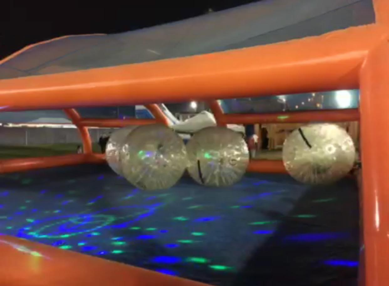 Night time zorbing arena