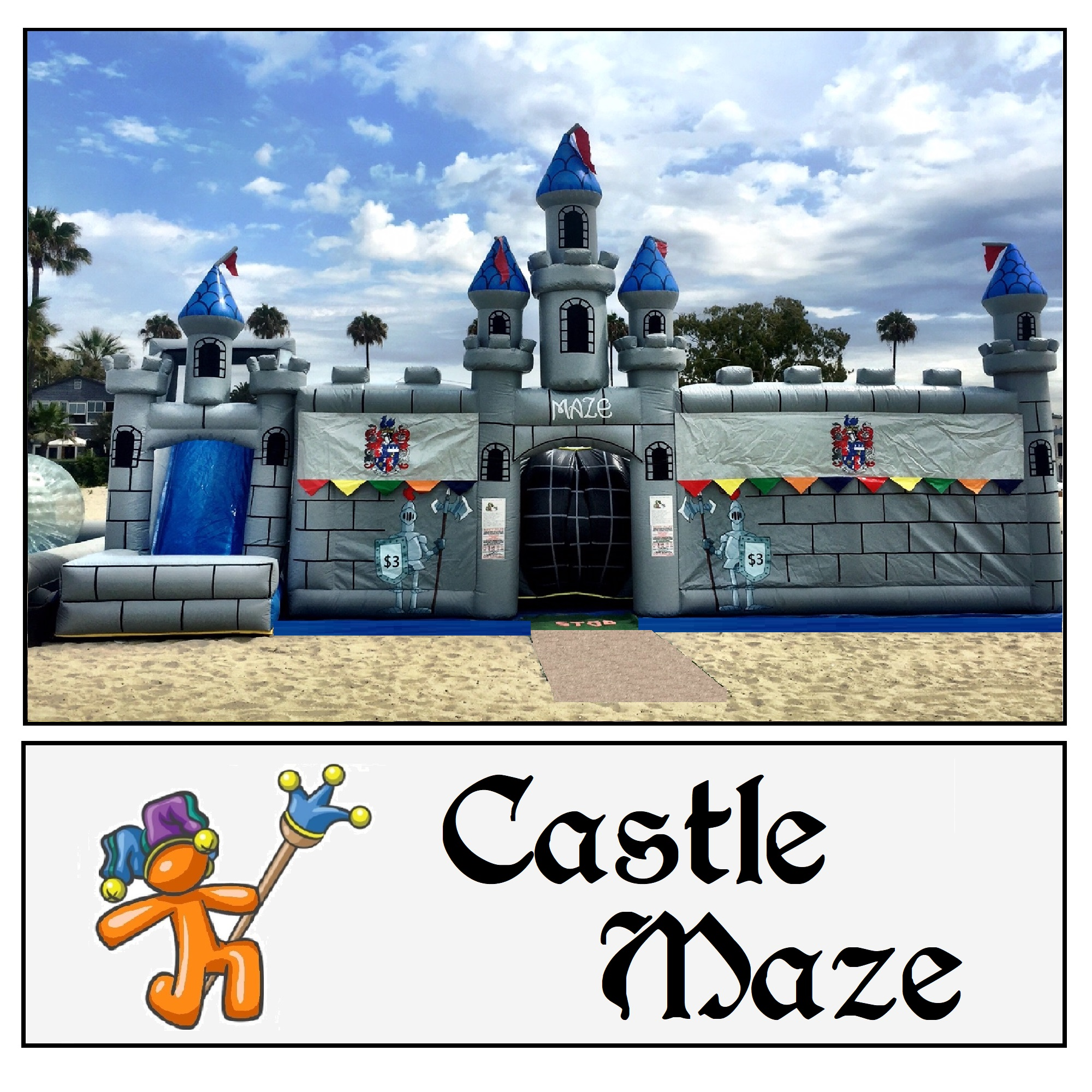 Inflatable Maze and Slide Combo