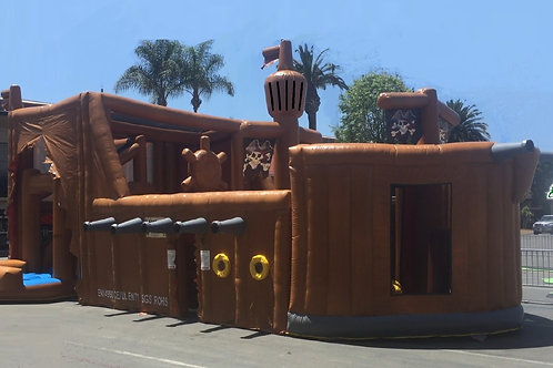 Pirate Adventure Playhouse with Slide and Obstacle Bouncy