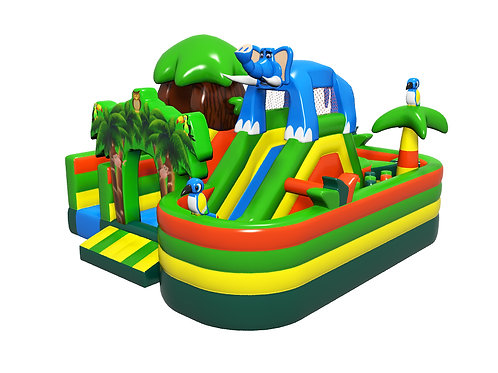 Jungle Themed Inflatable Obstacle Bouncer