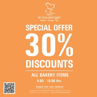 Special offer 30% discount for all bakery items