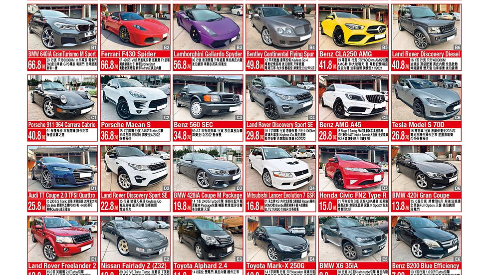 Cars sell updated list on July
