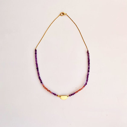 Amethyst and Rhodochrosite Necklace with Gold Chain and Gold Half Disc Pendant