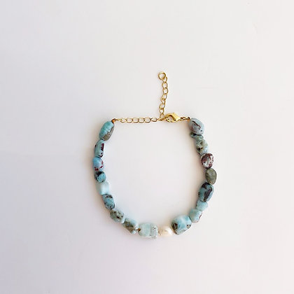 Larimar and Pearl Bracelet with Gold Chain Extender