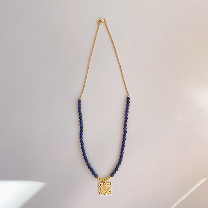 Lapis Lazuli and Gold Hematite Necklace with Gold St Benedict Medallion