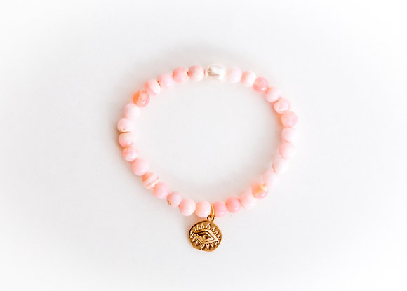Pink Opal Pearl bracelet with Eye of Protection Charm
