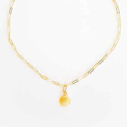Gold Paper Clip Chain with Gold Shelf Pendant
