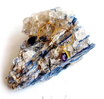Amethyst Gold Plated Hoop Earrings