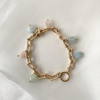 Gold Cable Aquamarine and Morganite Charm Bracelet