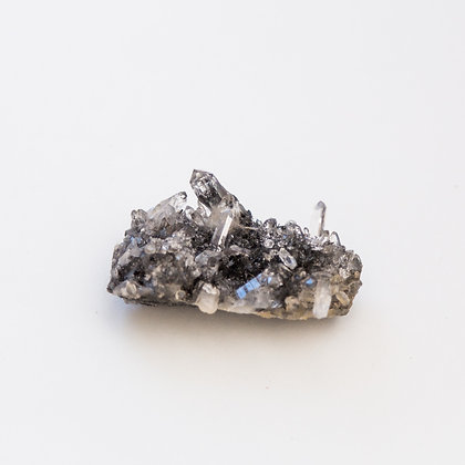 Clear Quartz Cluster with Black Tourmaline