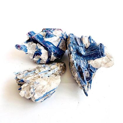 Raw Kyanite + Clear Quartz Cluster