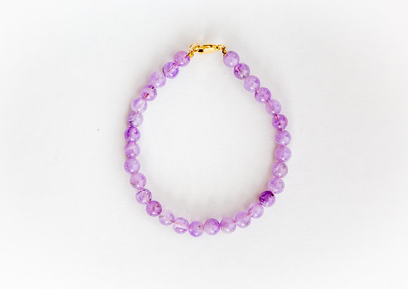 Amethyst  Crystal Bracelet with Gold Clasp
