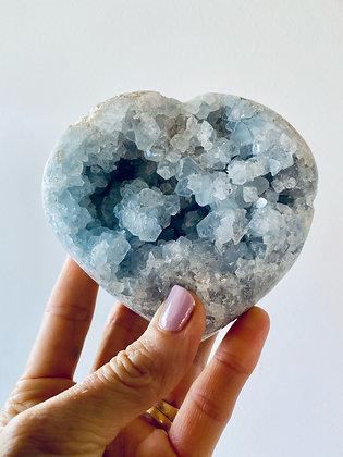 Celestine Heart Cluster  Medium
