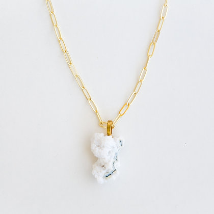 Gold Paper Clip Chain with White and Blue Apophyllite