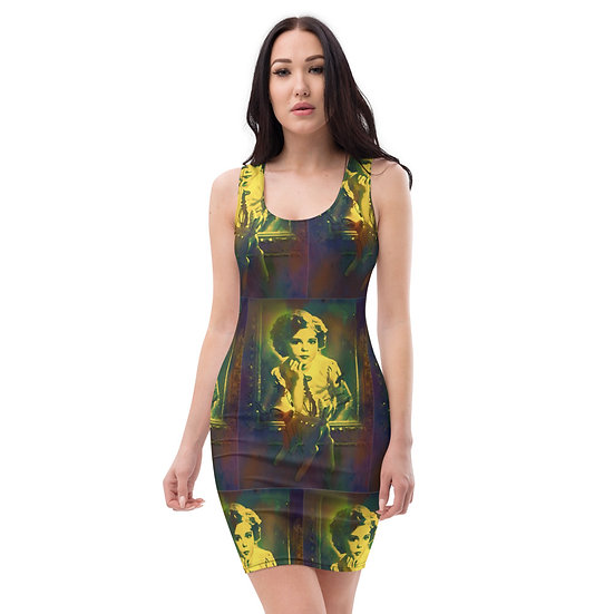 shirley temple chocolate and yellow designer limited edition art dress by dominartist