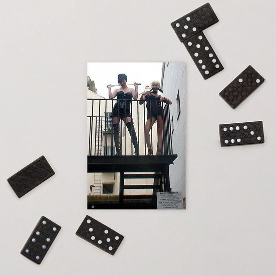 Bondage Girls on Fire Escape Standard Postcard