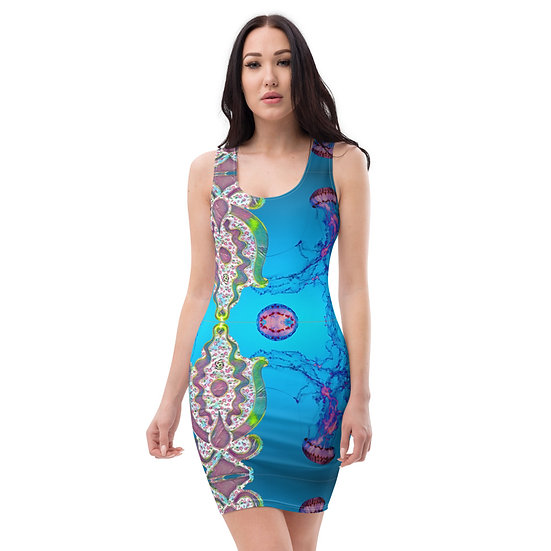 jellyfish lovers designer blue dress by dominartist™ limited rare paterned