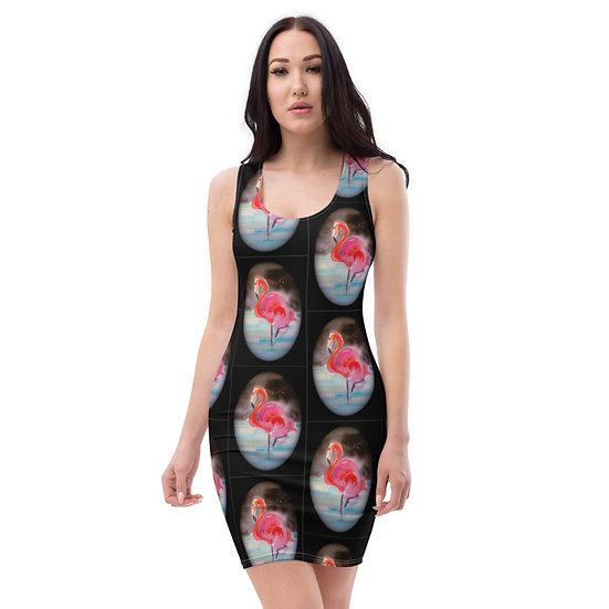 pink flamingo black cocktail dominartist designer limited edition dress modern art
