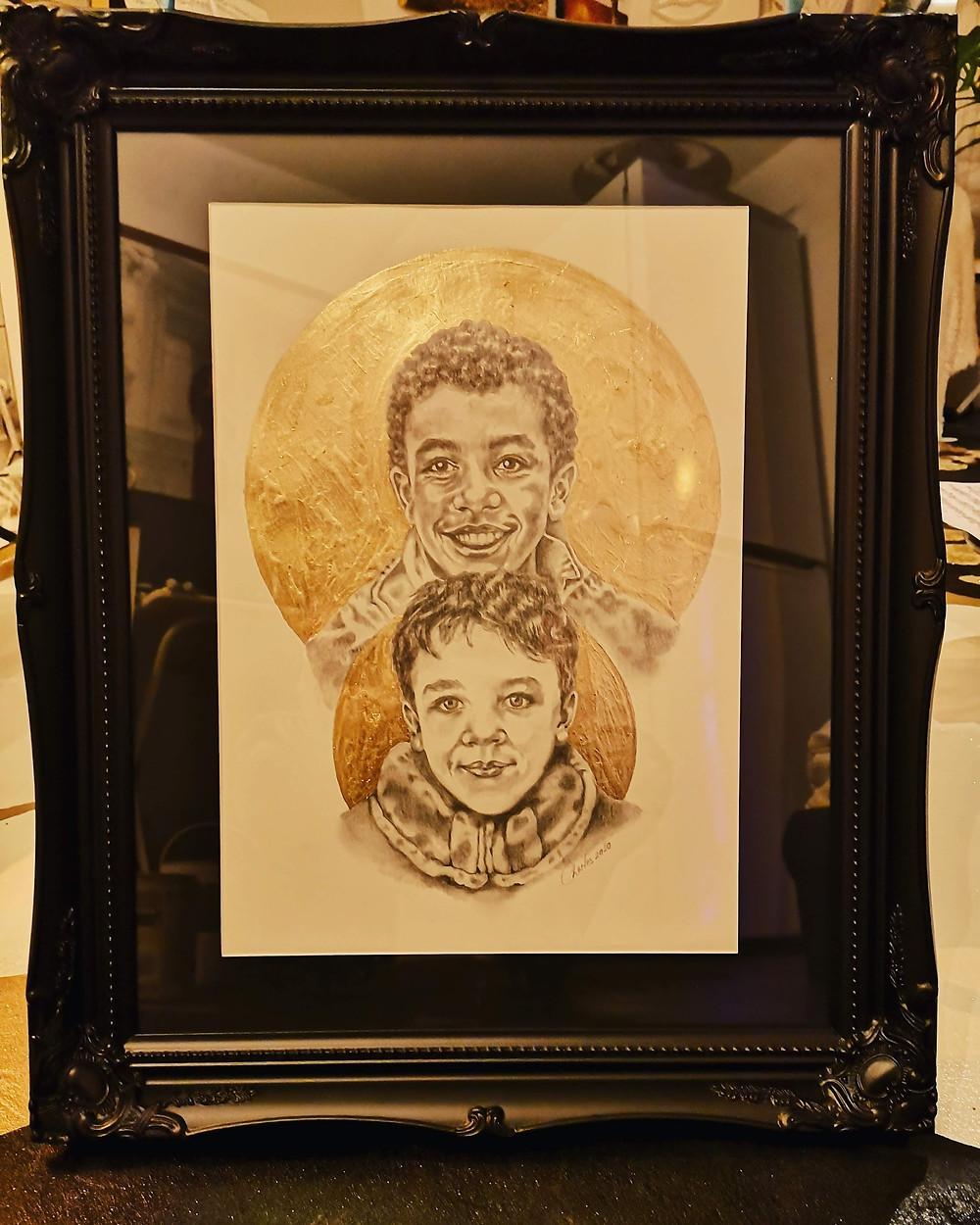 Graphite and 24k gold portrait by portrait artist Charles Frinton