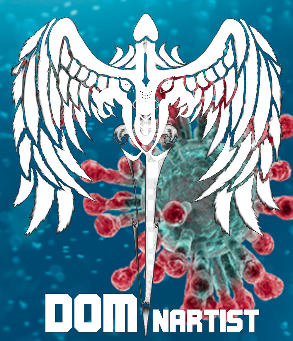 The Dominartist logo over the covid science image