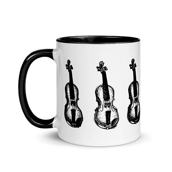 monochrome funky violin mug gift him her musicians music fans dominartist tale teller club