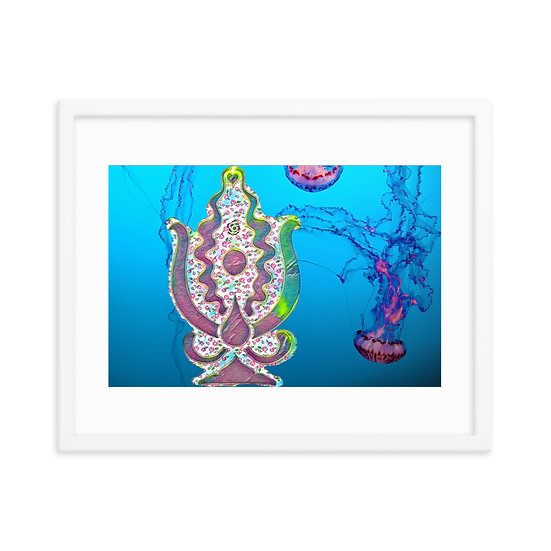 lovers jellyfish lady crest swimming water Dominartist™ new release fine art framed