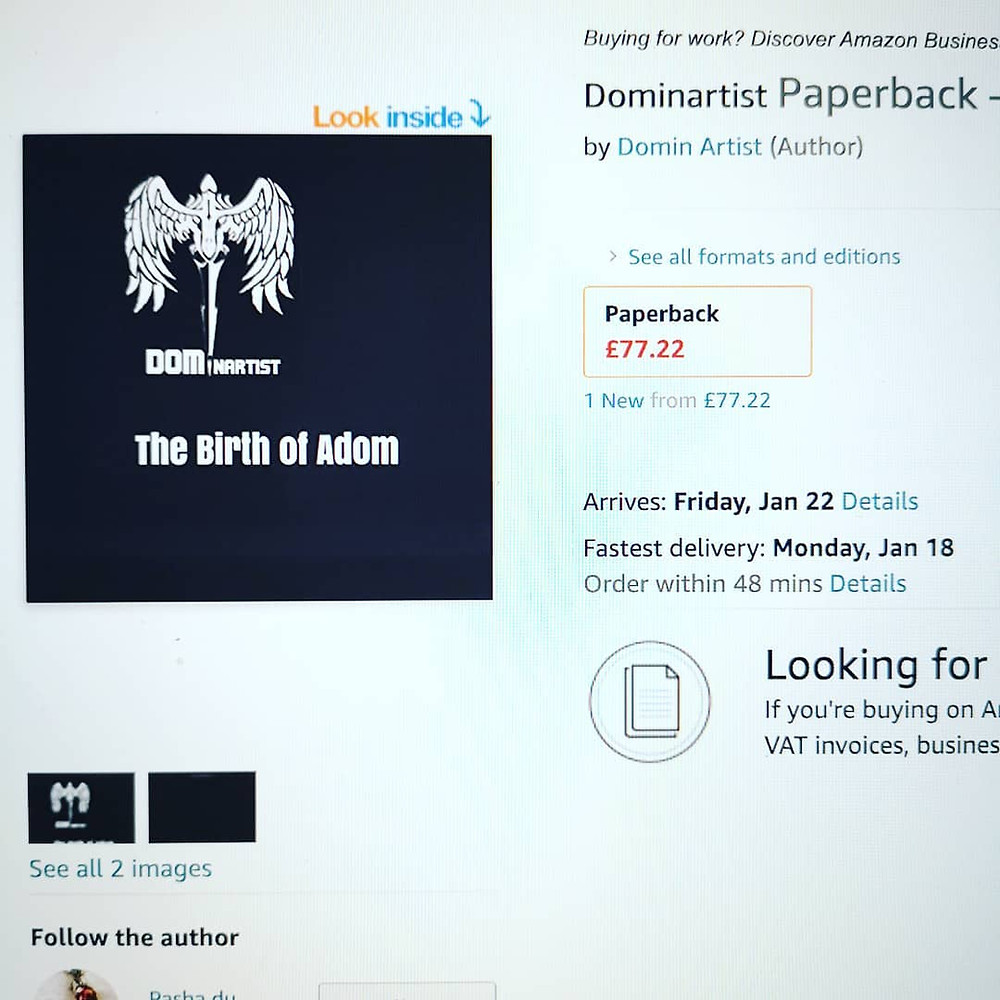 A link to the Amazon purchase page for the Book by the Dominartist, the Birth of Adom