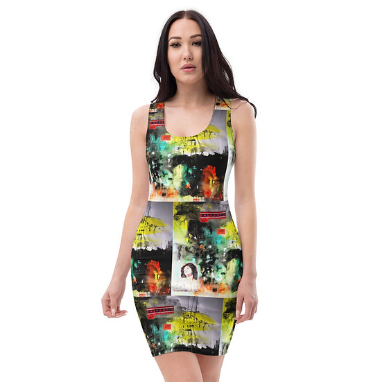 feminist painting art dress by dominartist pencil cut green black stretch
