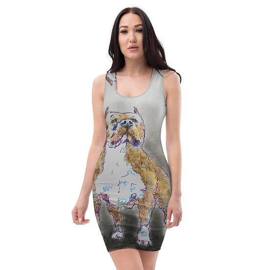 staffy dog drawing dress by dominartist limited editions bespoke  collectors