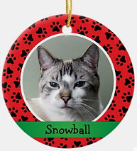 Pet Paw Prints Red Personalized Cat Name Photo Ceramic Ornament